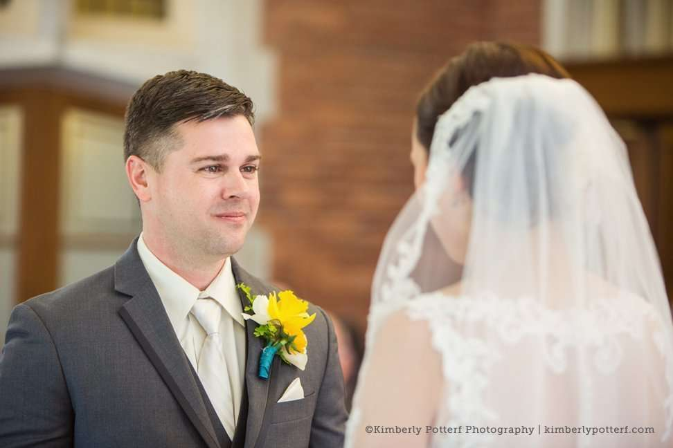 Emotional Groom, Columbus Ohio wedding photography, Jeffrey Mansion wedding ceremony