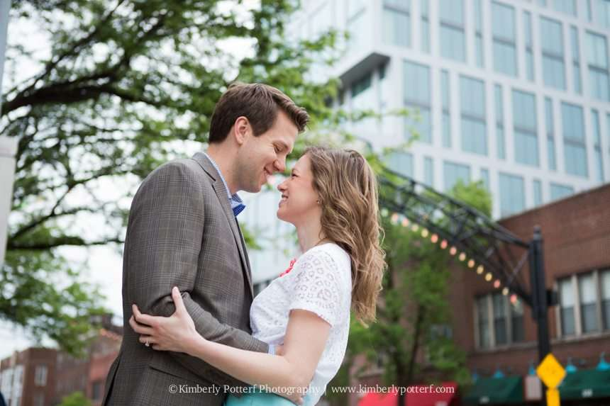 Short North Arts District, Columbus Ohio engagement photography, central ohio wedding photographer, short north arches in front of The Joseph hotel