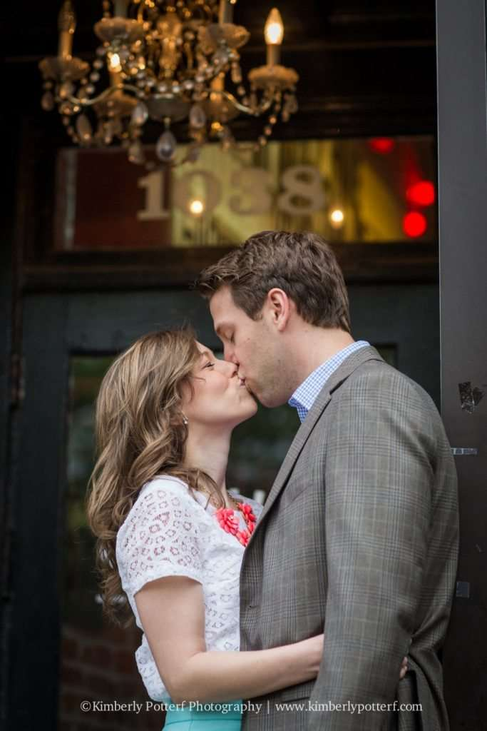 Short North Arts District, Columbus Ohio engagement photography, central ohio wedding photographer, Oddfellows Liquor Bar, short north arches in front of The Joseph hotel