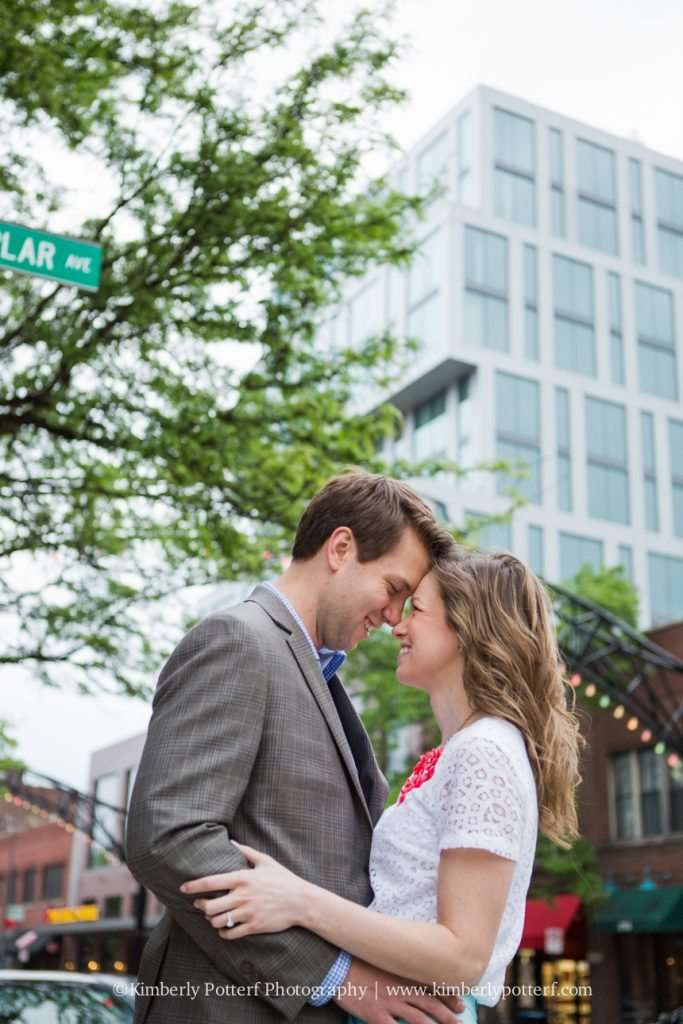 Short North Arts District, Columbus Ohio engagement photograph, photo taken in front of The Joseph hotel