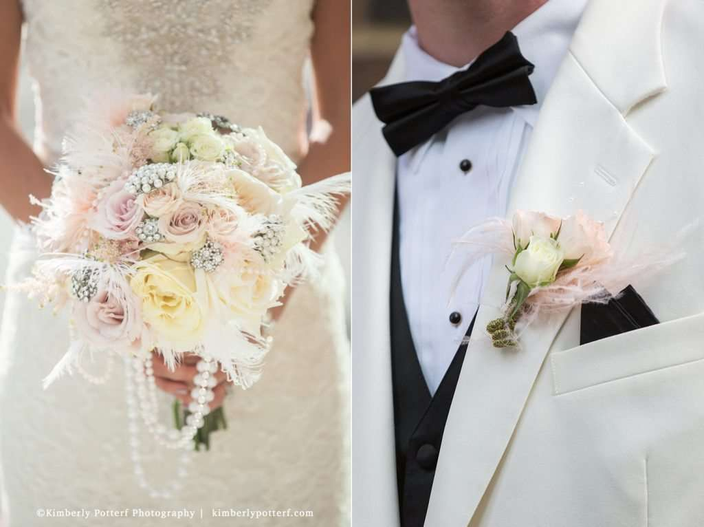 Gatsby Style Wedding, bride's bouquet with vintage rhinestone brooches, feathers and pearls, and groom's boutonniere
