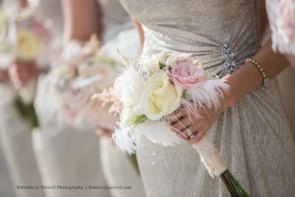 close up detail of blush and champagne bridesmaid bouquet,