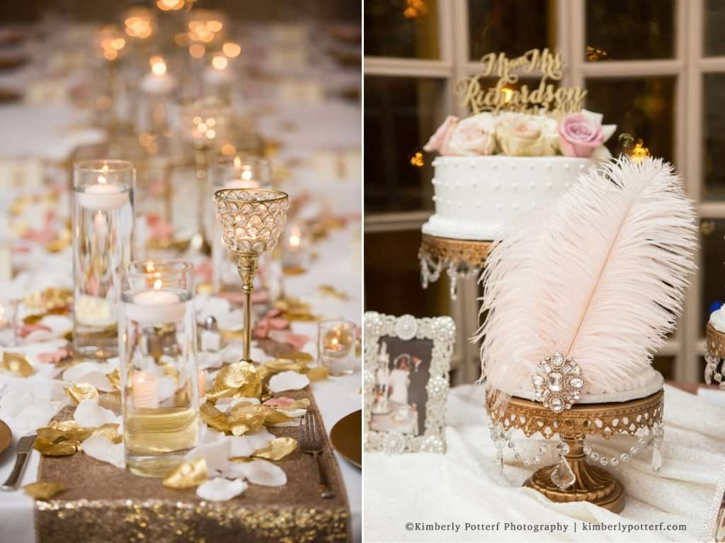 champagne blush and gold modern vintage Gatsby inspired wedding decor