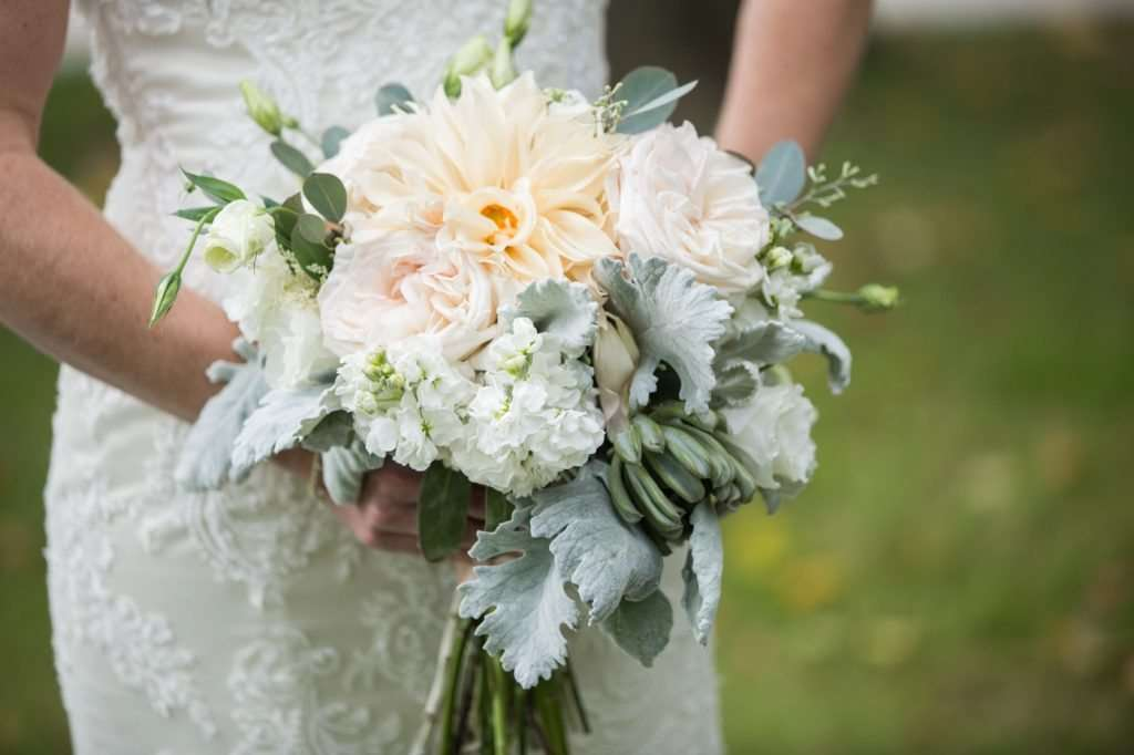 light pastel bridal bouquet with lambs ear, dahlias and succulents