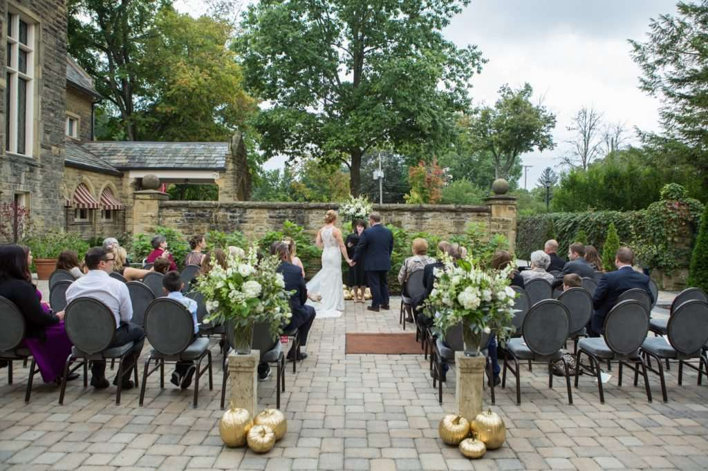 outdoor fall wedding at the Granville Inn