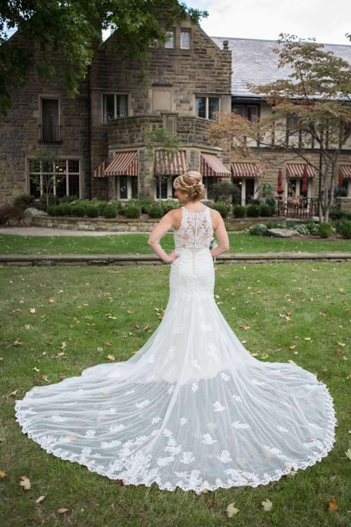full length shot of a bride in front of the Granville Inn