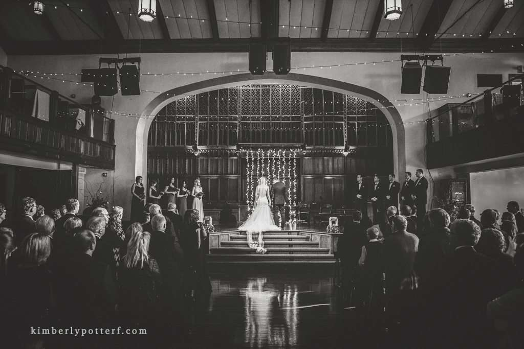 dramatic wide angle black and white image of a wedding ceremony at the Bluestone event venue in Columbus Ohio