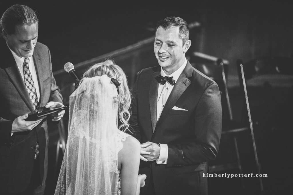 close-up image of a groom's expression at a wedding ceremony at the Bluestone wedding venue