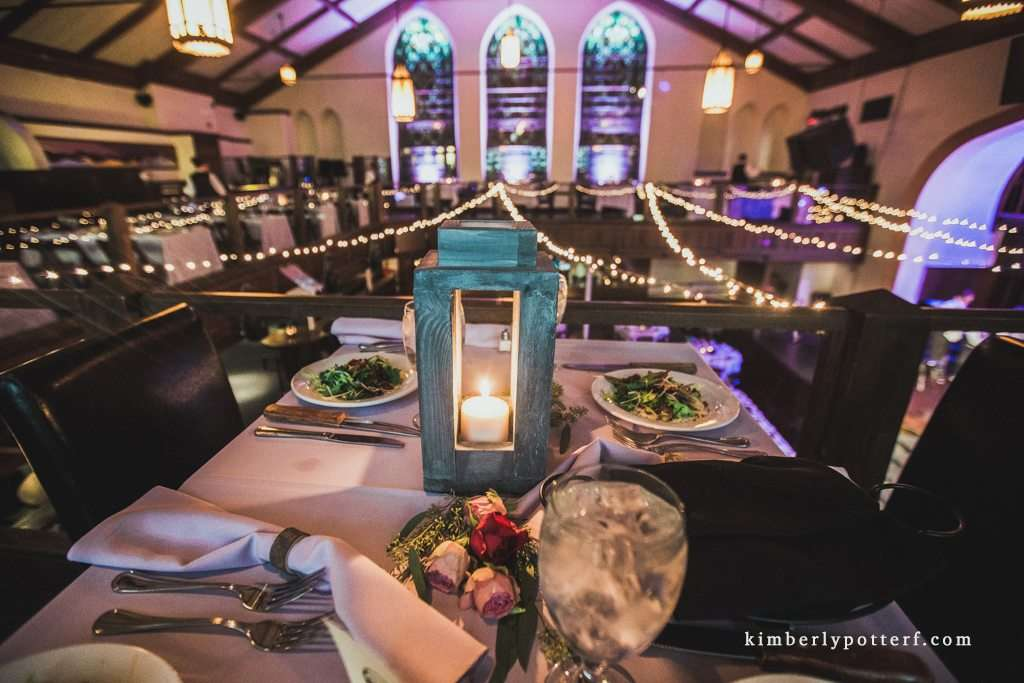 wide angle view of wedding decor at the Bluestone wedding and event venue