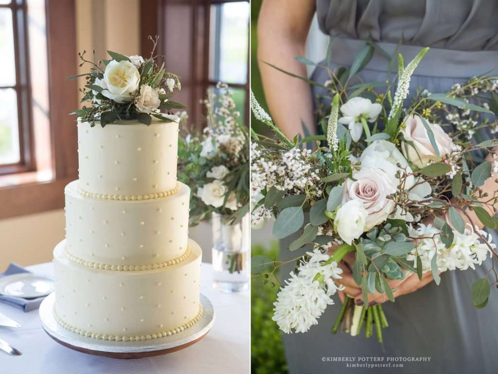 close up detail shot of a wedding cake and bridal bouquet