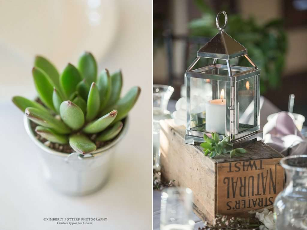 close up detail of a succulent and silver lantern used as wedding decor