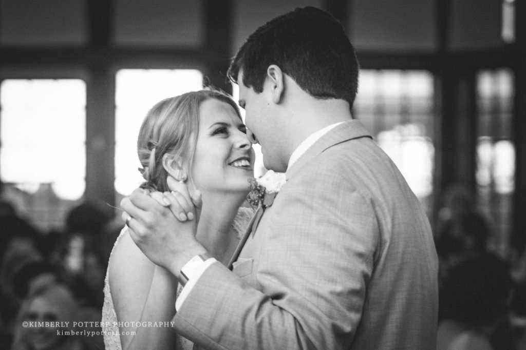 close up of a bride and groom sharing their first dance