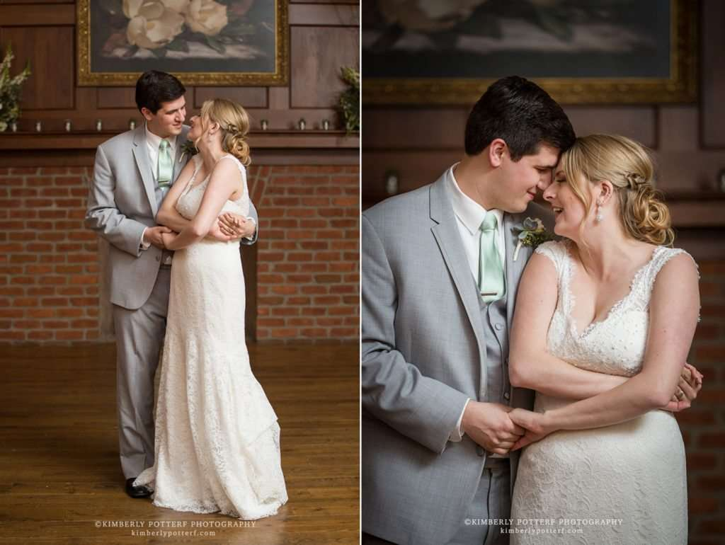 a bride and groom get cozy while sharing their first dance