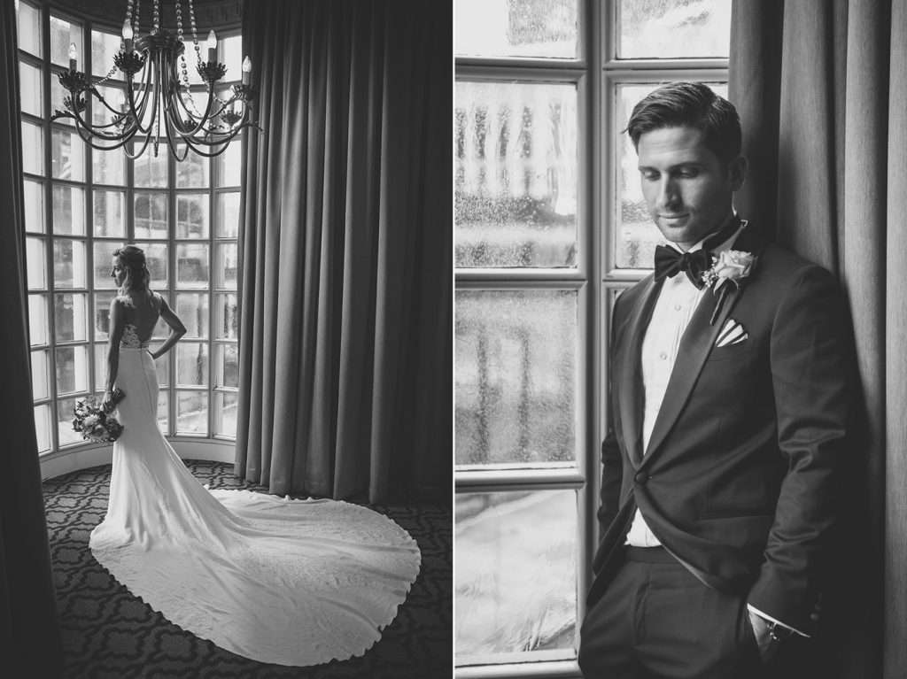 black and white images of a bride and groom in a dramatic window at the Athletic Club of Columbus
