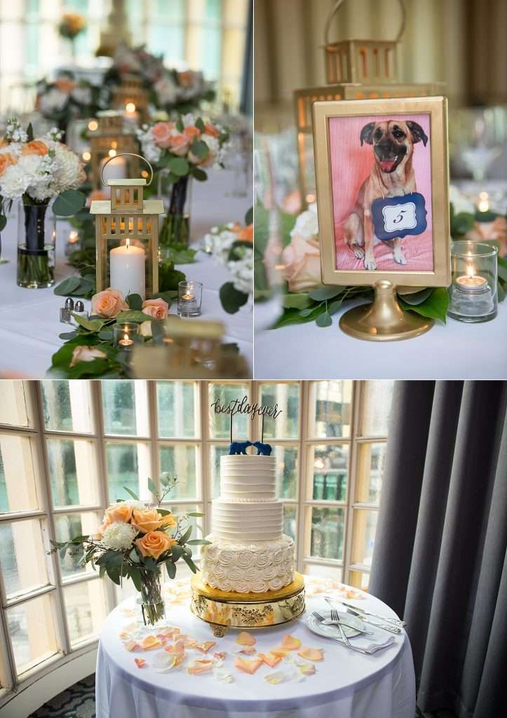close-up detail shots of wedding reception details with a framed photo of the couple's dog