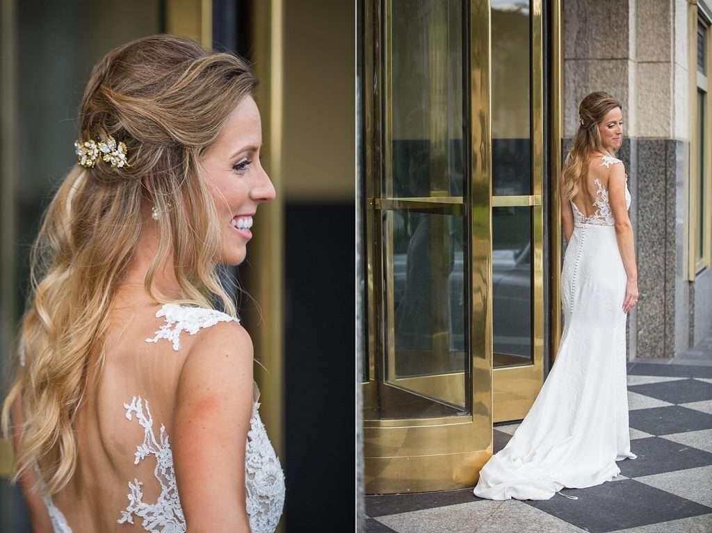bride with long blonde hair wearing a couture sleek illusion lace Pronovias Atelier wedding gown