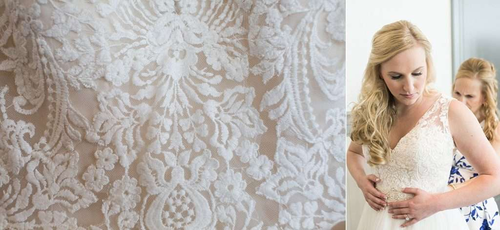 close-up detail of the lace on a champagne and ivory bridal gown