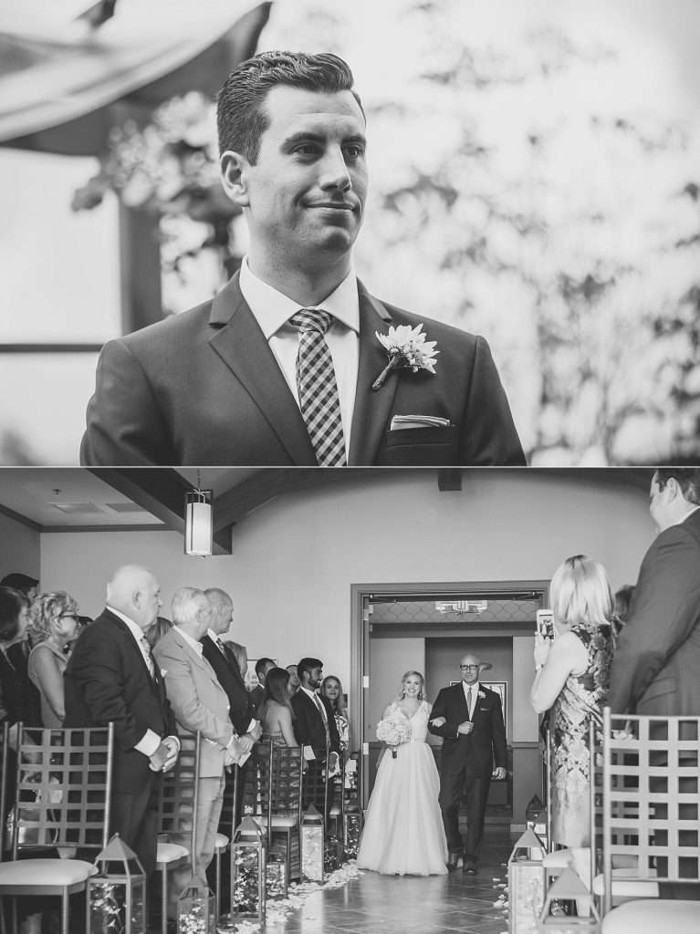 grooms watching his bride walk down the aisle during a wedding ceremony