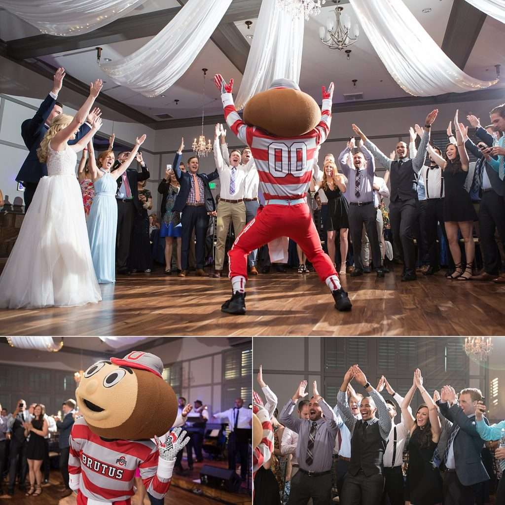 Brutus the Buckeye mascot dancing with guests at a wedding reception
