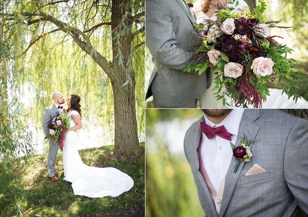 close-up detail images of a bridal bouquet and groom's bouttiniere of dark red and burgundy flowers