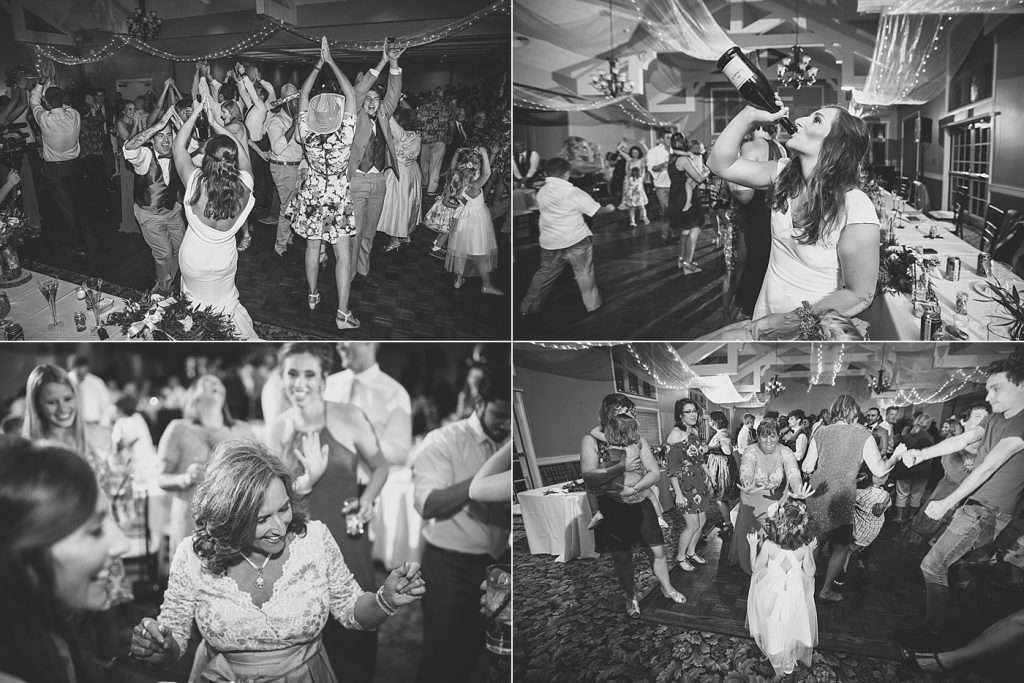 candid black and white images of guests dancing at a wedding