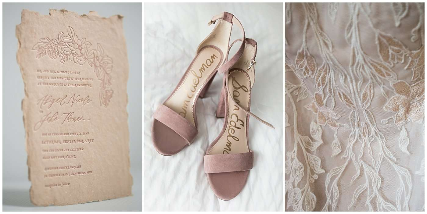 Series of three images of a blush colored letterpress wedding invitation, bridal shoes and close-up detail of floral embroidery