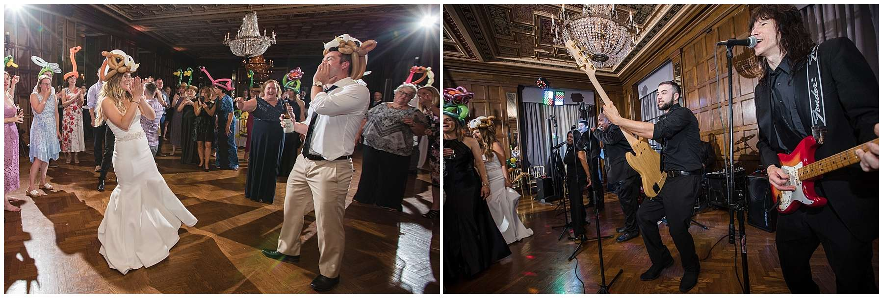 a bride and groom wearing colorful balloon hats dancing and laughing at a wedding reception while a live band plays music