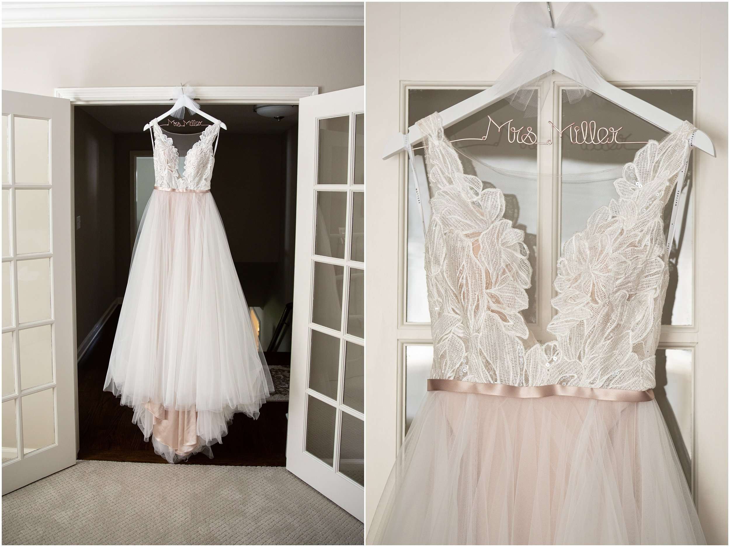 a blush and ivory bridal gown hanging in a doorway
