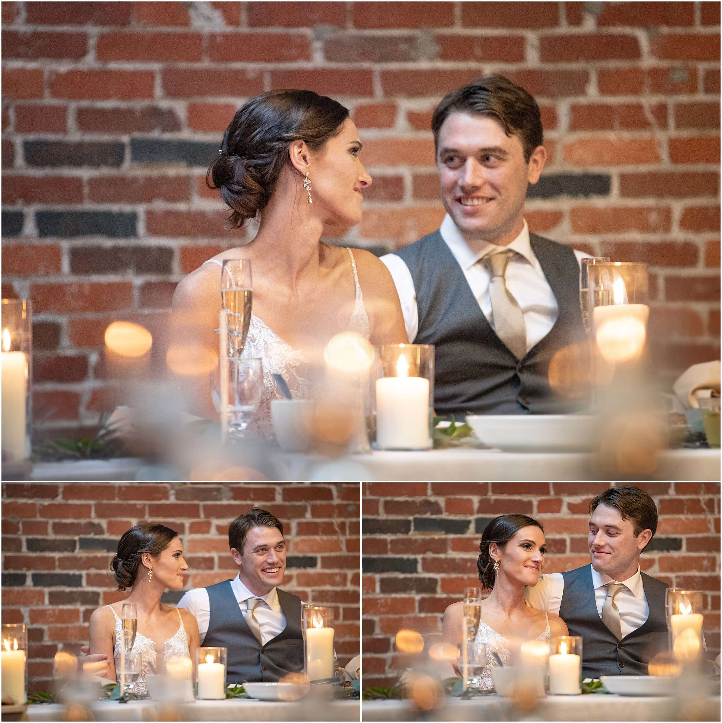 a series of images of a caucasian bride and groom couple sitting at a table exchanging affectionate glances. There is a brick wall behind them and glowing candles on the table in the foreground.